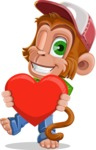 Cute Chimpanzee Monkey Vector Cartoon Character AKA Bo Nobo - Love