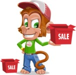 Cute Chimpanzee Monkey Vector Cartoon Character AKA Bo Nobo - Sale