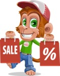 Cute Chimpanzee Monkey Vector Cartoon Character AKA Bo Nobo - Sale 2