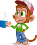 Cute Chimpanzee Monkey Vector Cartoon Character AKA Bo Nobo - Coffee