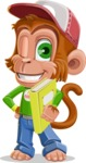 Cute Chimpanzee Monkey Vector Cartoon Character AKA Bo Nobo - Book 3