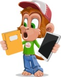 Cute Chimpanzee Monkey Vector Cartoon Character AKA Bo Nobo - Book and iPad
