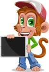 Cute Chimpanzee Monkey Vector Cartoon Character AKA Bo Nobo - iPad 2