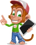 Cute Chimpanzee Monkey Vector Cartoon Character AKA Bo Nobo - iPad 3