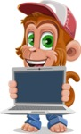 Cute Chimpanzee Monkey Vector Cartoon Character AKA Bo Nobo - Laptop 2