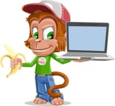 Cute Chimpanzee Monkey Vector Cartoon Character AKA Bo Nobo - Laptop 3