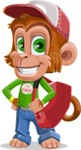 Cute Chimpanzee Monkey Vector Cartoon Character AKA Bo Nobo - Travel 2