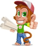 Cute Chimpanzee Monkey Vector Cartoon Character AKA Bo Nobo - Plans