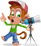 Cute Chimpanzee Monkey Vector Cartoon Character AKA Bo Nobo - Telescope