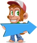 Cute Chimpanzee Monkey Vector Cartoon Character AKA Bo Nobo - Pointer 2