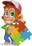 Cute Chimpanzee Monkey Vector Cartoon Character AKA Bo Nobo - Puzzle