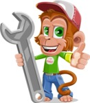 Cute Chimpanzee Monkey Vector Cartoon Character AKA Bo Nobo - Repair