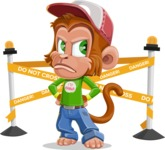 Cute Chimpanzee Monkey Vector Cartoon Character AKA Bo Nobo - Under Construction 2