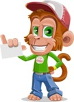 Cute Chimpanzee Monkey Vector Cartoon Character AKA Bo Nobo - Sign 1