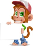 Cute Chimpanzee Monkey Vector Cartoon Character AKA Bo Nobo - Sign 3