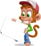 Cute Chimpanzee Monkey Vector Cartoon Character AKA Bo Nobo - Sign 4