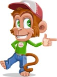 Cute Chimpanzee Monkey Vector Cartoon Character AKA Bo Nobo - Point