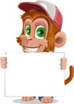 Cute Chimpanzee Monkey Vector Cartoon Character AKA Bo Nobo - Sign 5