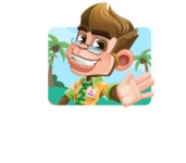 Business Monkey Cartoon Vector Character AKA Mr. Monkey Bananas - Shape 1