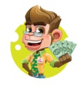 Business Monkey Cartoon Vector Character AKA Mr. Monkey Bananas - Shape 2