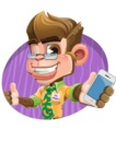 Business Monkey Cartoon Vector Character AKA Mr. Monkey Bananas - Shape 4