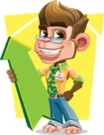 Business Monkey Cartoon Vector Character AKA Mr. Monkey Bananas - Shape 5