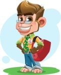 Business Monkey Cartoon Vector Character AKA Mr. Monkey Bananas - Shape 6