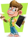 Business Monkey Cartoon Vector Character AKA Mr. Monkey Bananas - Shape 10