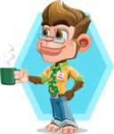 Business Monkey Cartoon Vector Character AKA Mr. Monkey Bananas - Shape 12