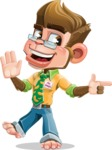 Business Monkey Cartoon Vector Character AKA Mr. Monkey Bananas - Direct Attention 2