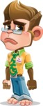Business Monkey Cartoon Vector Character AKA Mr. Monkey Bananas - Sad