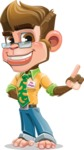 Business Monkey Cartoon Vector Character AKA Mr. Monkey Bananas - Attention
