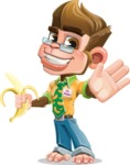 Business Monkey Cartoon Vector Character AKA Mr. Monkey Bananas - Hello