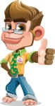 Business Monkey Cartoon Vector Character AKA Mr. Monkey Bananas - Thumbs Up