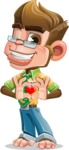 Business Monkey Cartoon Vector Character AKA Mr. Monkey Bananas - Romantic Monkey Cartoon Character Animal Valentine's Day