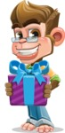 Business Monkey Cartoon Vector Character AKA Mr. Monkey Bananas - Gift