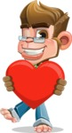 Business Monkey Cartoon Vector Character AKA Mr. Monkey Bananas - Inloved Monkey Cartoon Character