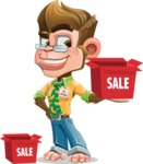 Business Monkey Cartoon Vector Character AKA Mr. Monkey Bananas - Sale