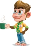 Business Monkey Cartoon Vector Character AKA Mr. Monkey Bananas - Coffee