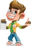 Business Monkey Cartoon Vector Character AKA Mr. Monkey Bananas - Calculator