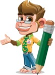 Business Monkey Cartoon Vector Character AKA Mr. Monkey Bananas - Pencil