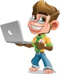 Business Monkey Cartoon Vector Character AKA Mr. Monkey Bananas - Laptop 1