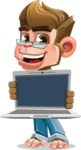 Business Monkey Cartoon Vector Character AKA Mr. Monkey Bananas - Laptop 2