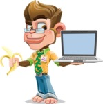 Business Monkey Cartoon Vector Character AKA Mr. Monkey Bananas - Laptop 3