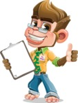 Business Monkey Cartoon Vector Character AKA Mr. Monkey Bananas - Notepad 1