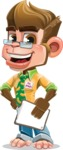 Business Monkey Cartoon Vector Character AKA Mr. Monkey Bananas - Notepad 4