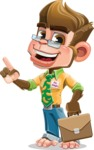 Business Monkey Cartoon Vector Character AKA Mr. Monkey Bananas - Briefcase 2