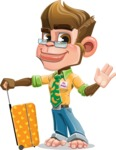 Business Monkey Cartoon Vector Character AKA Mr. Monkey Bananas - Travel 1