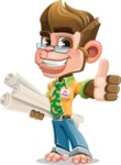 Business Monkey Cartoon Vector Character AKA Mr. Monkey Bananas - Plans