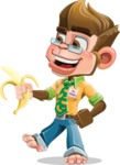Business Monkey Cartoon Vector Character AKA Mr. Monkey Bananas - Banana